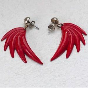 """Vintage 80s Red Metal """"Devil Wing"""" Earrings"""